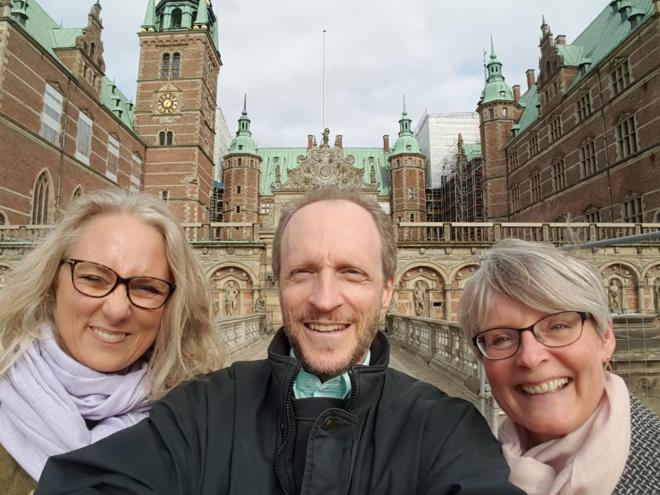 A photo of Helle, Bodhi and Lisbet in Denmark